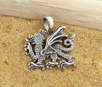 Welsh Dragon Pendant, Sterling Silver