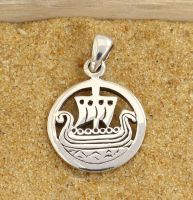Viking Ship Pendant, Sterling Silver
