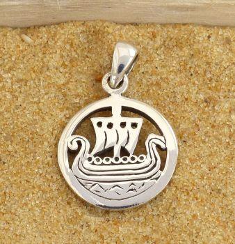 Viking Ship Pendant, Sterling Silver