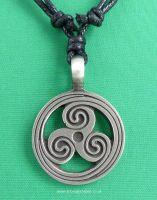 Triskele Pewter Pendant Necklace, 41mm