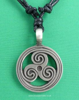 Triskele Pewter Pendant Necklace, 41mm