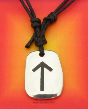 TEIWAZ Rune Pendant & adjustable Necklace for Strength