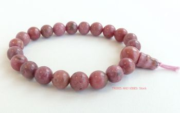 Rhodonite Bracelet Crystal Power Beads wrist mala
