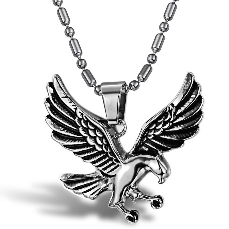 Eagle Pendant & Necklace, Stainless Steel (stock)