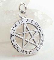 SO MOTE IT BE Pentacle Pentagram Theban Pendant, 2-sided Sterling Silver