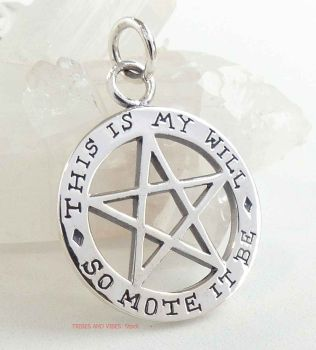 SO MOTE IT BE Pentacle Pentagram Theban Pendant, 2-sided Sterling Silver
