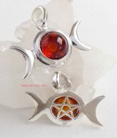 triple moon pentacle 925 sterling silver amber pendant