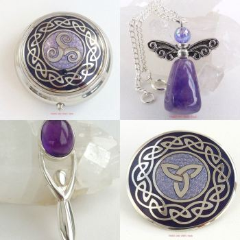 purple theme tribes and vibes pill box angel goddess brooch
