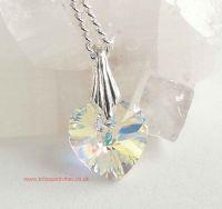 Heart Charm, Swarovski Crystal & Sterling Silver bale