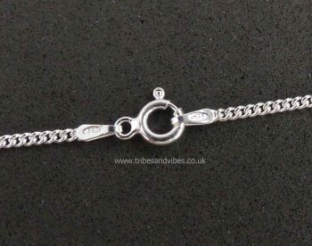 "925 Sterling Silver Curb Chain Necklace 20"" 51cm"