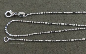 "Silver Plated Dot Dash Chain Necklace 17"" 43cm"