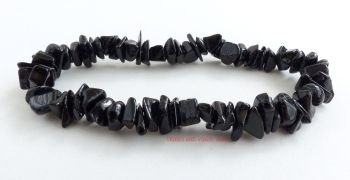 Black Tourmaline (Schorl) Crystal Chips Bracelet
