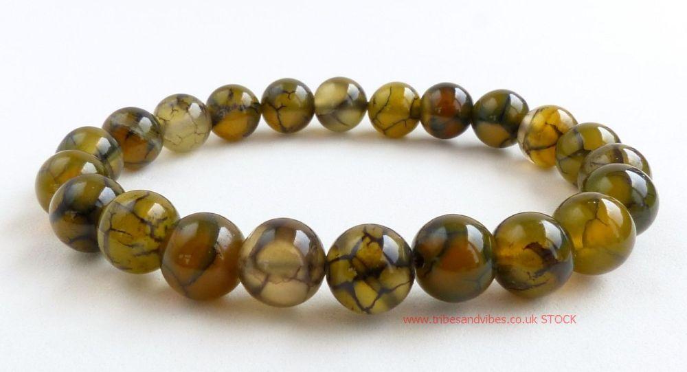 Dragon Vein Agate Crystal Beads Bracelet (stock)