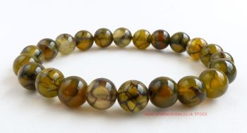 Agate (Dragon Vein) Bracelet Crystal Beads
