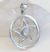 pentagram pentacle pendant 925 sterling silver rainbow moonstone crystal