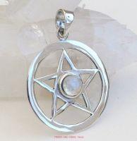 pentagram pentacle pendant 925 sterling silver rainbow moonstone crystal
