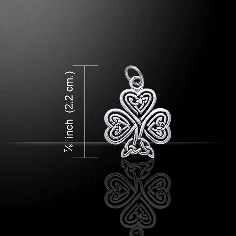 Shamrock Celtic Pendant / Charm, Sterling Silver by Peter Stone (stock)