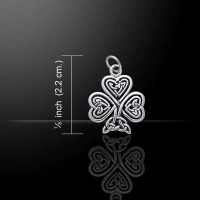 Shamrock Celtic Charm / Pendant, Sterling Silver by Peter Stone