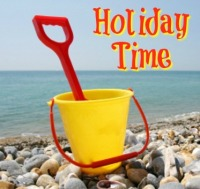 holiday time bucket and spade