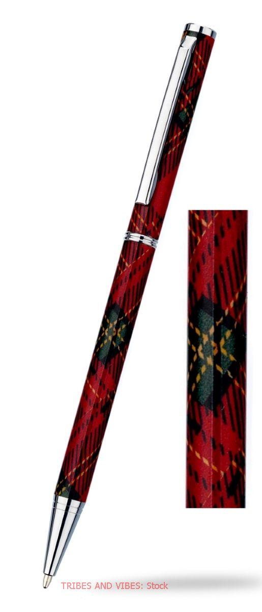 Scottish Tartan (Red Plaid) slimline Ballpoint Pen & Gift Box (stock)