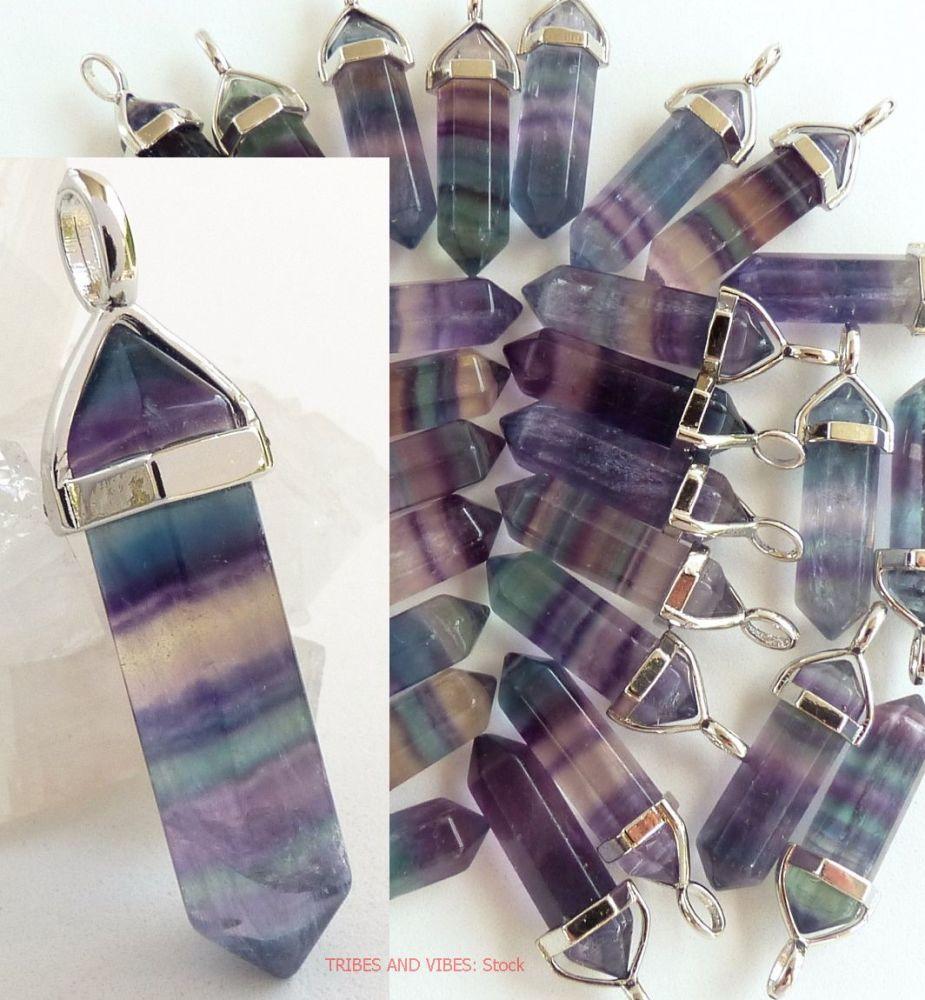 Rainbow Fluorite Crystal Point Pendant + Necklace (stock)