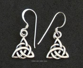 triquetra double earrings triple moon goddess sterling silver
