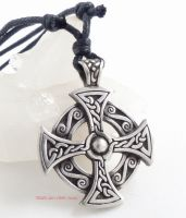 Celtic Cross Pewter Pendant Necklace