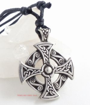 "Celtic Cross Pewter Pendant Necklace ""Destiny Knot"""