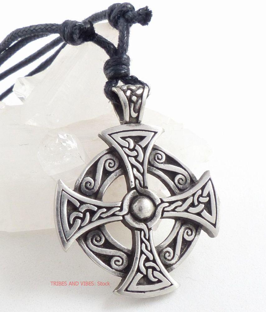 Celtic Cross Pewter Pendant Necklace