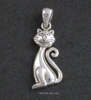 happy kitty cat smiling cat sterling silver pendant sea gems