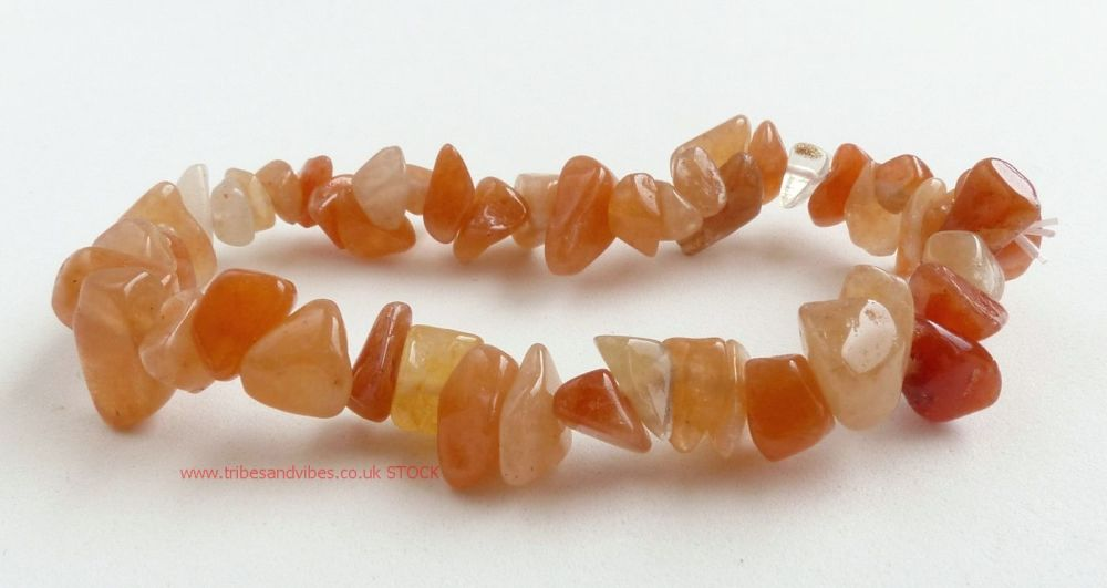 Orange Peach Aventurine Crystal Chips Bracelet (stock)