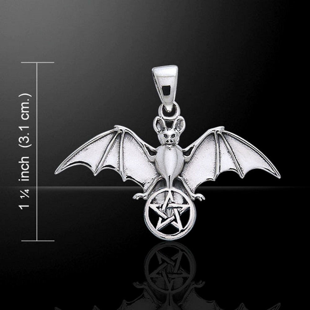 Bat and Pentacle Pendant, Sterling Silver by Peter Stone (stock)