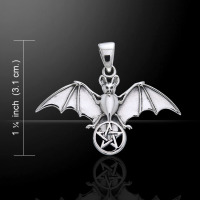 Bat & Pentacle Pendant Sterling Silver by Peter Stone