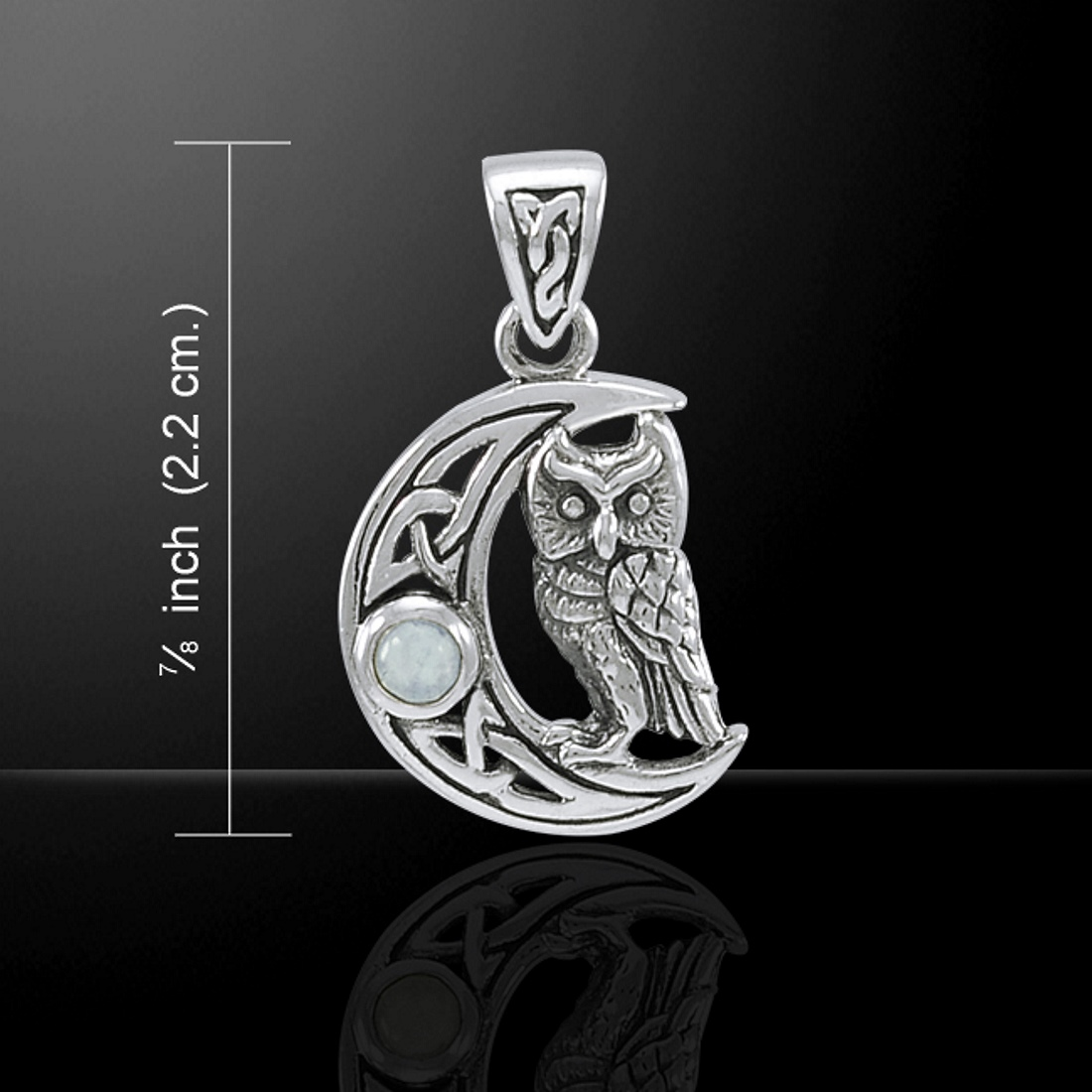 Celtic Owl on a Crescent Moon Pendant, by Peter Stone, Sterling Silver