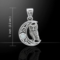 Celtic Owl on a Crescent Moon Pendant, by Peter Stone, Sterling Silver & Rainbow Moonstone Crystal