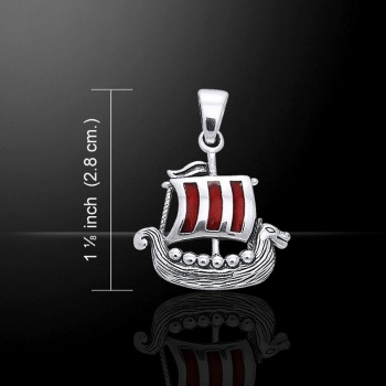Viking Long Ship Pendant, by Peter Stone, Sterling Silver & Red Enamel Sail