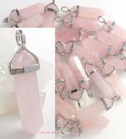 rose quartz crystal point pendant necklace