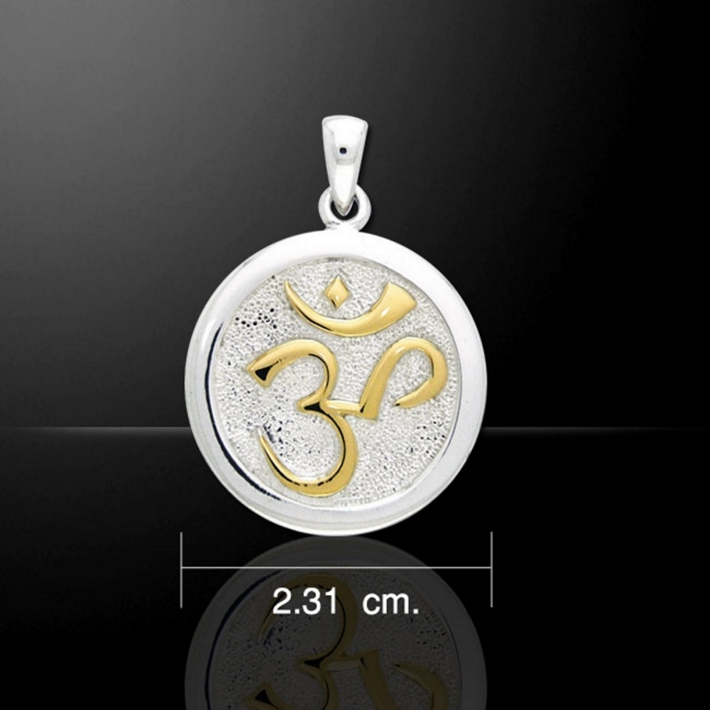 Sanskrit OM Pendant, Sterling Silver & Gold by Peter Stone