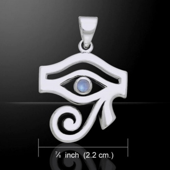 Eye of Horus Pendant, by Peter Stone, Sterling Silver & Rainbow Moonstone Crystal