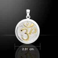 Sanskrit Om Pendant 925 Sterling Silver gold accent Peter Stone Jewellery