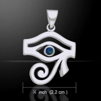 Eye of Horus Pendant, by Peter Stone, Sterling Silver & Azurite Crystal