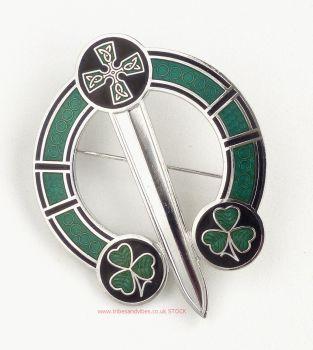 Irish Shamrock & Celtic Cross Tara Brooch by Sea Gems, 57mm