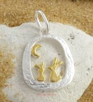 hares moon 925 silver pendant by Sea Gems