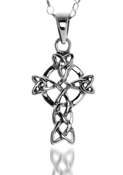 Celtic Cross Knotwork Triquetra Sterling Silver Pendant by Sea Gems