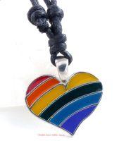 pride heart rainbow pendant necklace LGBT
