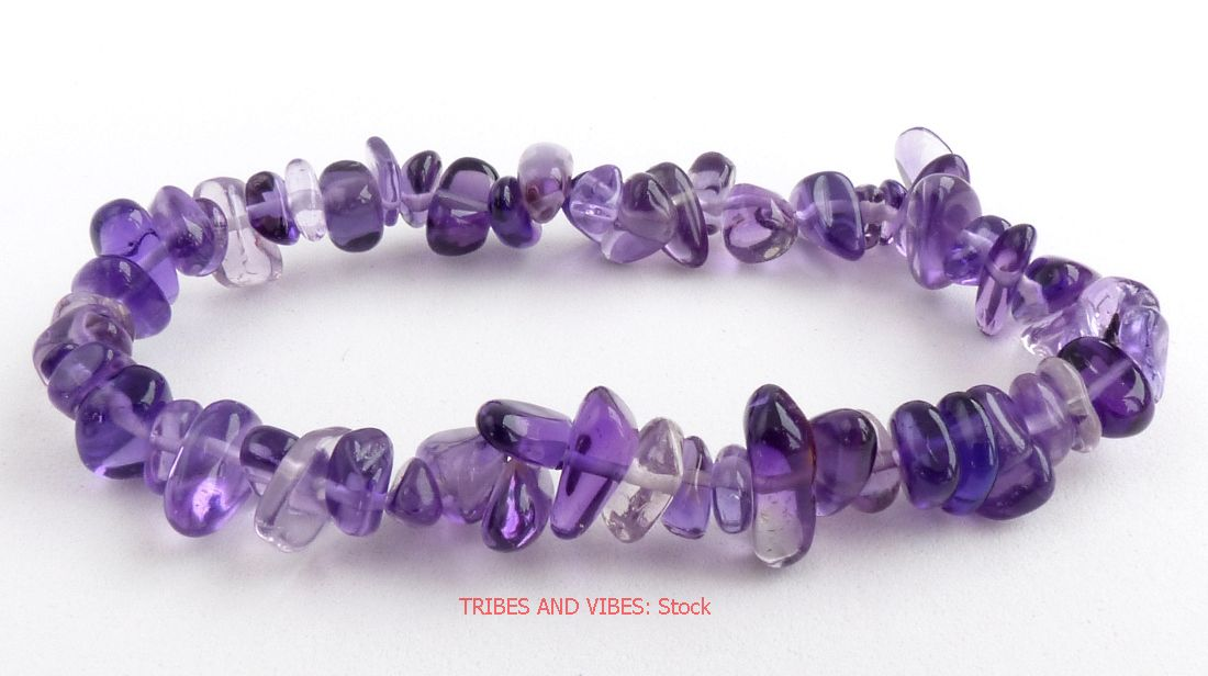 AMETHYST Bracelet Crystal Gemstone Chip (stock)