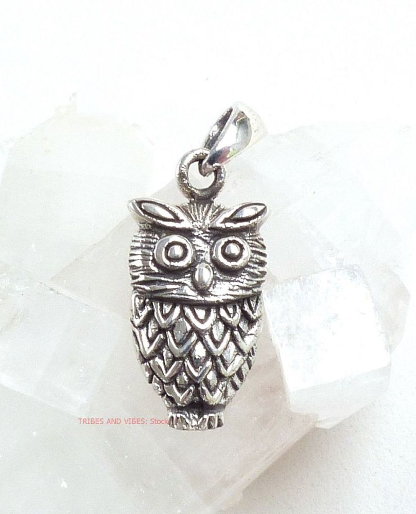 Owl Pendant by Sea Gems 925 Sterling Silver (stock)