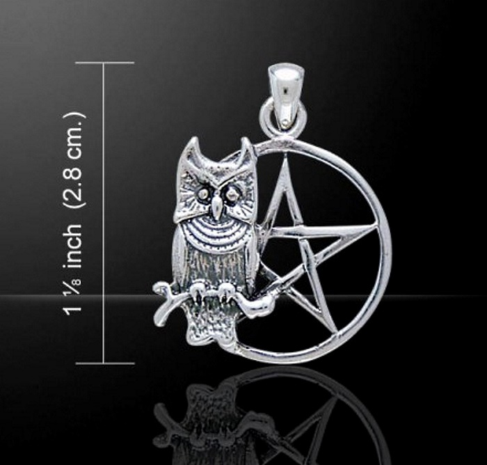 Perched Owl on a Pentacle Pentagram Pendant Sterling Silver by Peter Stone