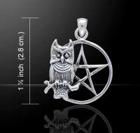 owl pentagram 925 silver pendant peter stone tp3320