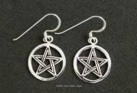 Pentagram Pentacle Earrings Sterling Silver